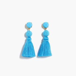 FIRM PRICE J.CREW Tassel Ball Earrings Blue